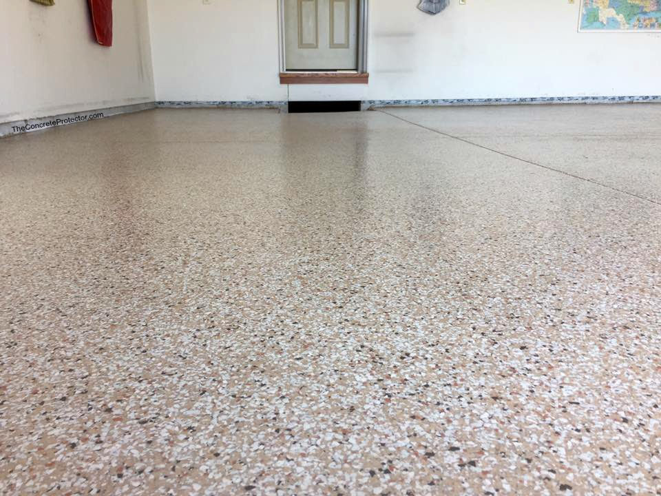 beige garage floor epoxy with flakes boise meridian eagle idaho
